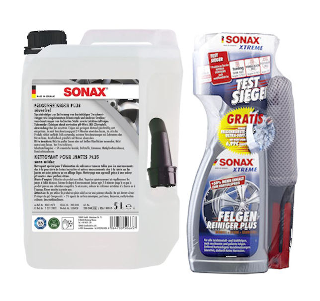5 ltr sonax felgenreiniger plus 750 ml sonax xtreme. Black Bedroom Furniture Sets. Home Design Ideas